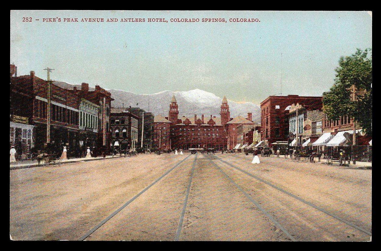 Antlers Hotel Postcard Colorado Colorado Springs Storefronts CO PC