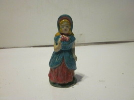 ANTIQUE CHALKWARE HAND PAINTED GIRL FIGURINE - $9.99