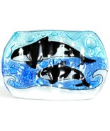 Fused Art Glass Orca Killer Whale Underwater Design Soap Dish Handmade E... - $14.84