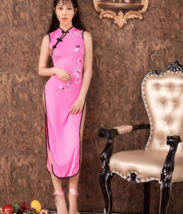 Women Sexy Long Cheongsam Dress High Split Vintage Qipao Pajamas Slim Stylish image 2