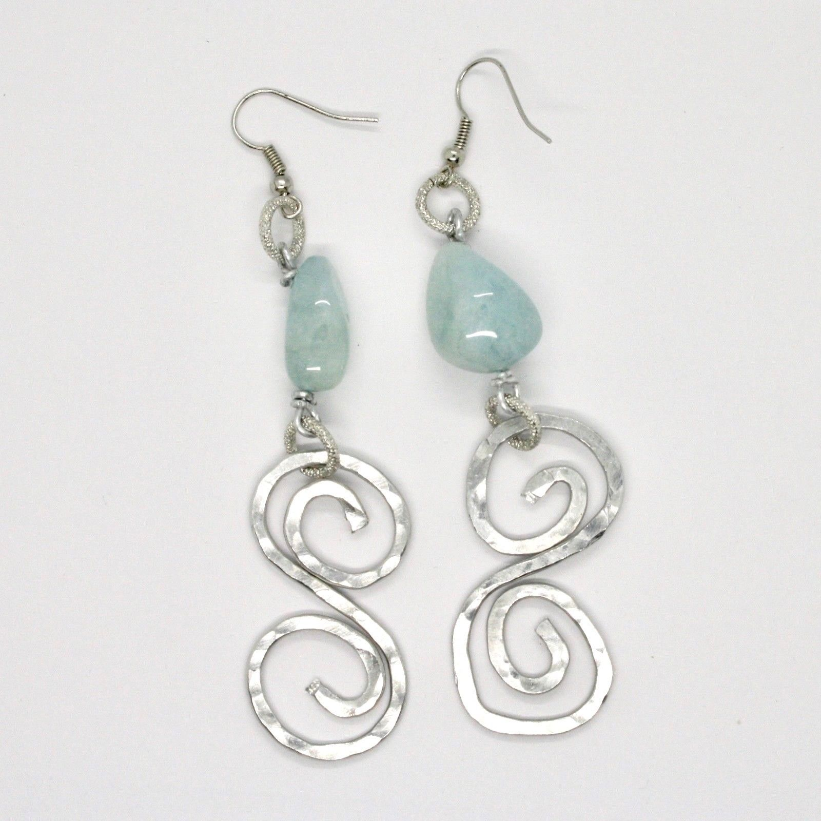 EARRINGS THE ALUMINIUM LONG 9 CM WITH AQUAMARINE NATURAL ROUGH AND SPIRAL