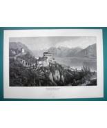 """SWITZERLAND Church Madonna del Sasso Locarno - Victorian Era Print 14.5""""... - $21.42"""