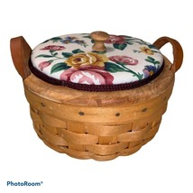Vintage 2002 Longaberger Button Basket Garden Splendor Lid Protector Combo Set - $30.00