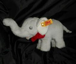STEIFF 238246 TRAMPILI GREY BABY ELEPHANT RED BOW STUFFED ANIMAL PLUSH T... - $36.01