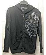 NWT XTREME COUTURE SKULL CROSS Metallic ZIP HOODIE by Affliction Black S... - $29.99