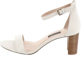 Nine West Block-Heel Sandals Pruce White Leather 9.5M NEW S9443 - $49.48