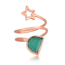Green Onyx Gemstone Star Designer Rose Gold Plated 925 Silver Rings Jewelry - $22.44