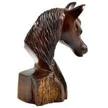 Hand Carved Ironwood Wood Folk Art Country Western Horse Bust Miniature Figurine image 5