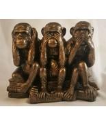 "Hear/See/Speak No Evil - Darwin Evils - Monkeys Statue - New - 5"", Bronz... - $29.39"