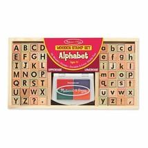 Kids Wooden Alphabet Stamp Set Washable Non Toxic Inks 56 Block Style St... - $36.14