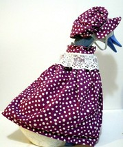 Yard Goose Outfit Purple Polk a Dot Dress Lace Trim with Matching Hat 11... - $14.85