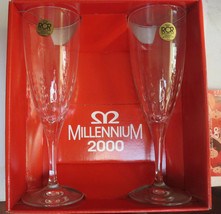 ROYAL CRYSTAL ROCK MILLENNIUM 2000 PAIR OF CRYSTAL CHAMPAGNE FLUTES - $20.00