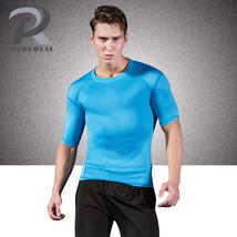 Reflective Mesh Running Tights Compression Round Collar Men Short Sleeve... - $17.99