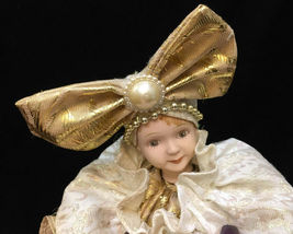 Girl Jester Music Box Drum Song Evergreen Animated Porcelain Goldtone Fabric Bow image 3