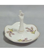 Porcelain Hand Ring Holder Pin Dish Floral Pattern - $9.90