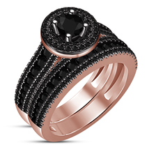 Bridal Engagement Ring Set In Round Cut Black CZ 14k Rose Gold Plated 92... - $96.99
