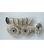 Vintage Covered Wagon Oxen Pin Brooch Rhinestone Pave Enamel Rhodium on ... - $44.55