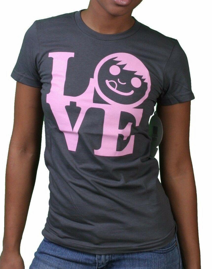 Neff Womens Carbone Piacevole Ragazze Ciuccio Viso Love Statua T-Shirt Nwt