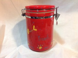 Cat Treat Cannister Pier 1 Hand-painted Ironstone locking, sealing lid - $5.50