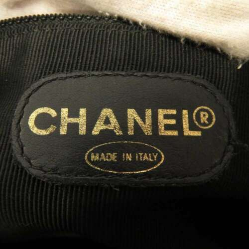 CHANEL Tote Bag Caviar Leather Black CC Logo Chain Shoulder Bag Italy Authentic image 11
