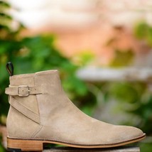 Handmade Men's Beige Suede High Ankle Monk Strap Boots image 5
