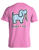Puppie Love Rescue Dog Adult Unisex Short Sleeve Cotton Tee,Gingham Pup