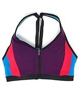 Victoria's Secret Knockout Front-Close Sport Bra 34D Grape Soda Colorblock - $29.49