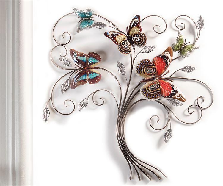 """28"""" Sculpted Vine Spray Iron Butterfly Desgin Wall Decor Piece NEW"""