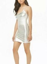 Forever 21 Shiny Liquid Silver Metallic Cami Mini Dress M NEW - $11.34