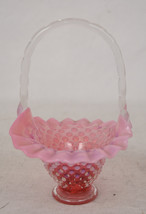 Fenton Hobnail Cranberry Pink Opalescent Ruffled Crimped Art Glass Basket - $34.65