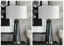 "TWO MODERN CERAMIC XXL 31"" ACCENT TABLE LAMP BRUSHED NICKEL METAL UTTERMOST - $475.20"