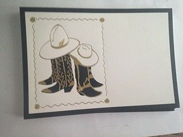 """30 Cowboy Boot Notecards Ivory Stock Gold Black 8.5"""" X 6""""Flat Card Does ... - $8.66"""