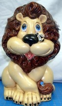 "Vintage ""Atlantic Mold"" 8"" Hand Painted Ceramic Lion Coin Bank Collectible  - $15.00"