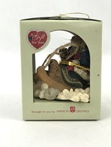 Heart Patch Place Sledding Bear Christmas Tree Ornament American Greetings New - $9.97