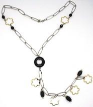 Collier Argent 925, Onyx Noir,Pendentif Fleurs, Marguerite, Chute image 2