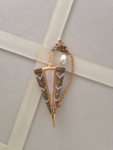 Vintage Art Deco Spain Faux Pearl Umbrella Brooch - $30.00