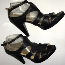 Nine West Black sz 10 Heels Sandals Buckle Leather Sexy Women's Shoes Bottles Up - $58.41