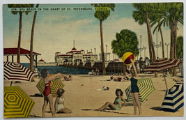 VTG Old Linen Era Postcard Spa Beach in the Heart of St. Petersburg, Flo... - $9.79