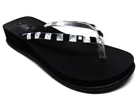 Black Beaded Women's Flip Flops EVA Wedge Thongs Sandals Size US 6 -11 NEW - $20.98