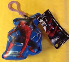 SPIDER-MAN KEY RING CHAIN HOLDER BLUE STUFFED VNYL FOR BACKPACK - $3.47