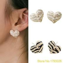 1 Pair Womens Fashion Heart Shape Ear Zebra Crystal Rhinestone Stud Earrings Jew - $7.99