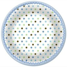 Tickled Blue Polka Dots Baby Shower Lunch Plates 8 Per Package New - $3.91