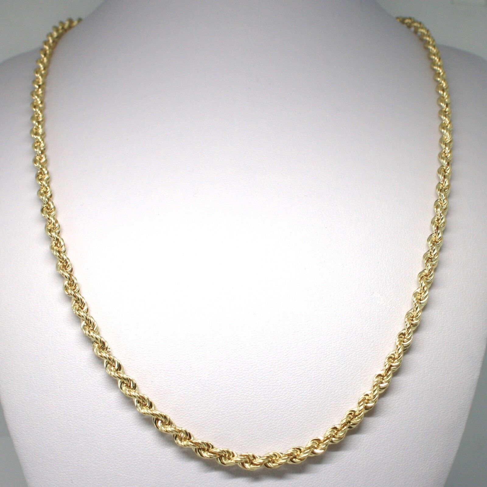 18K YELLOW GOLD CHAIN NECKLACE 5 MM BIG BRAID ROPE LINK 23.60 IN. MADE IN ITALY