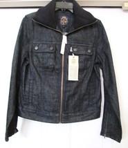 TALBOTS Women's Blue Denim Jacket Coat Bomber Rib Knit Collar Size 8 - $49.95