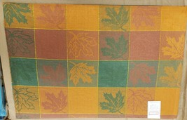 "SET OF 2 FABRIC COTTON PLACEMATS 12""x18"", COLORFUL LEAVES IN SQUARES,Roy... - $10.88"