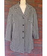 Vintage Houndstooth Peacoat Size XL Black White Checkered Jacket Pea Coa... - $39.60