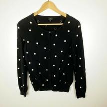 Talbots Size Small 100% Pima Cotton Black White Cardigan Long Sleeve Polka Dot - $24.18