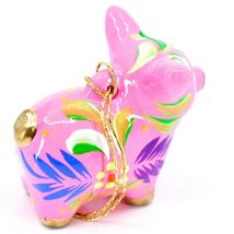 Handcrafted Painted CeramicPink Pig Confetti Ornament Made in Peru image 5
