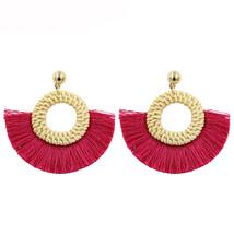 Fan Shaped Tassel Earrings For Women handmade Rattan Fringe Earring khak... - $10.13