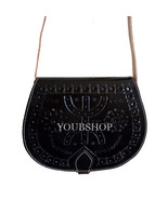 Embossed Moroccan Leather Bucket Drawstring Bag, Shoulder Bag, Purse Vin... - $44.95